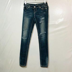 Almost Famous Ripped Skinny Blue Jeans SZ 1